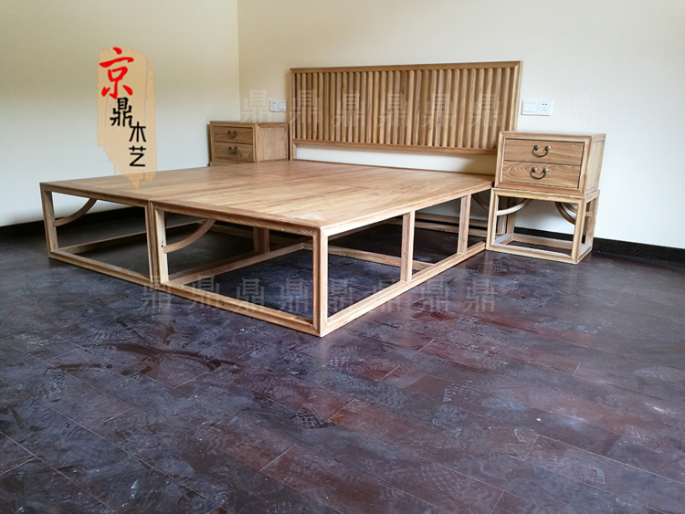 Paint the old elm wood bed full of new Chinese style wood bed double bed double bed double bed three pieces 1.8