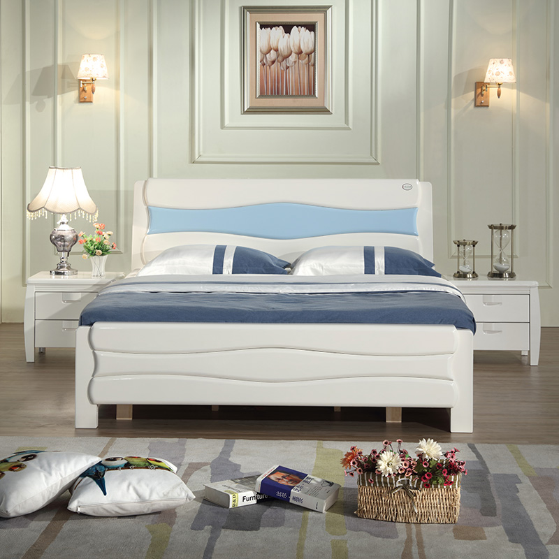 New Chinese solid wood bed white painted oak bed, simple modern high box storage bed 1.5 meters 1.8 meters double bed