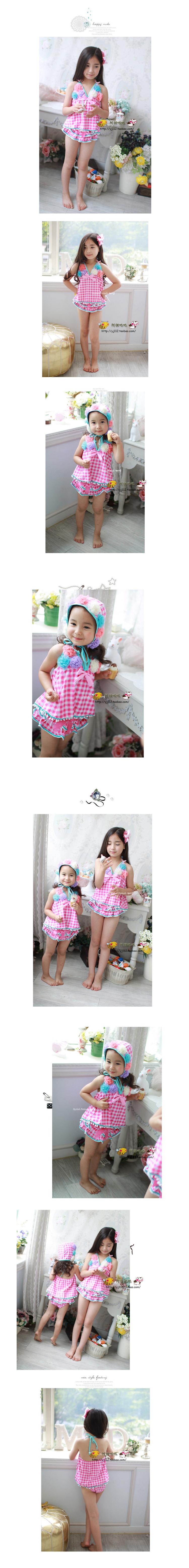 Hình ảnh nguồn hàng Set áo nón bơi bé gái hai mảnh sọc nhỏ dễ thương giá sỉ quảng châu taobao 1688 trung quốc về TpHCM