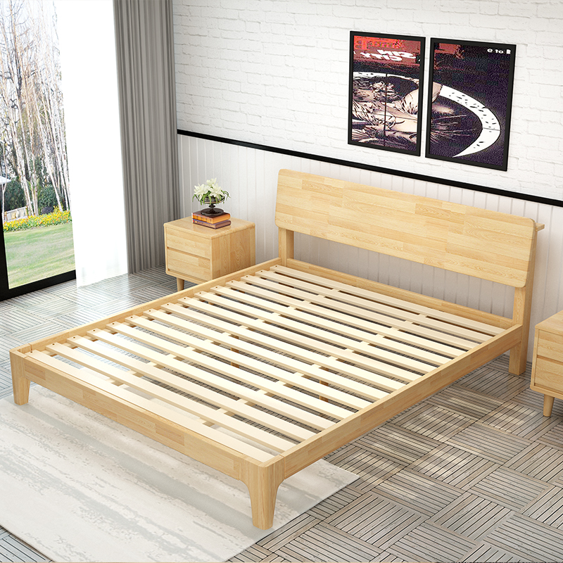 The whole wood bed 1.2m1.5 meters 1.8 Pensjonat Relax Hotel rental housing style simple double log