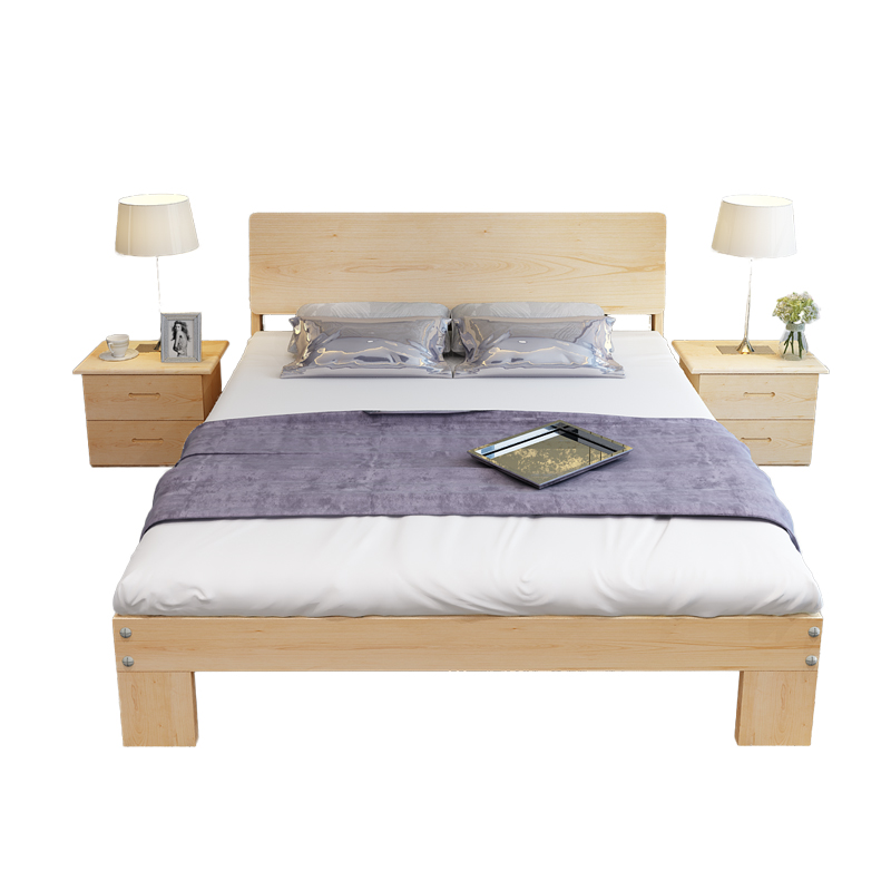 A single bed double bed pine 1.21.5 meters 1.81 meters Nordic wood bed tatami bed for children