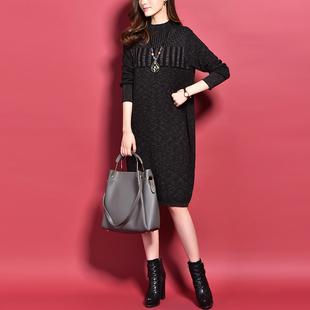 2017秋装新款 时尚复古圆领长袖扎染明星款 宽松显瘦针织连衣裙