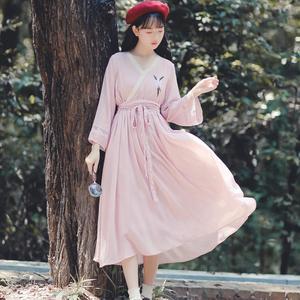 古装温柔冷淡中国风刺绣飘逸淡雅V领汉服改良连衣裙仙女超仙甜美