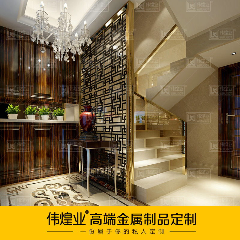 A stainless steel screen custom champagne gold stainless steel a partition screen Chinese version lattice