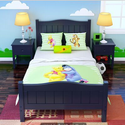 Special offer solid wood bed children loose bed Mediterranean bed single bed double bed boy girl princess bed 1.21.5