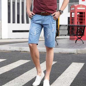 牛仔短裤男士夏季薄款五分裤男5分马裤夏天破洞中裤宽松日系裤子