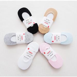 5双船袜女隐形袜子浅口防滑硅胶夏季超薄全棉糖果色单鞋运动低帮