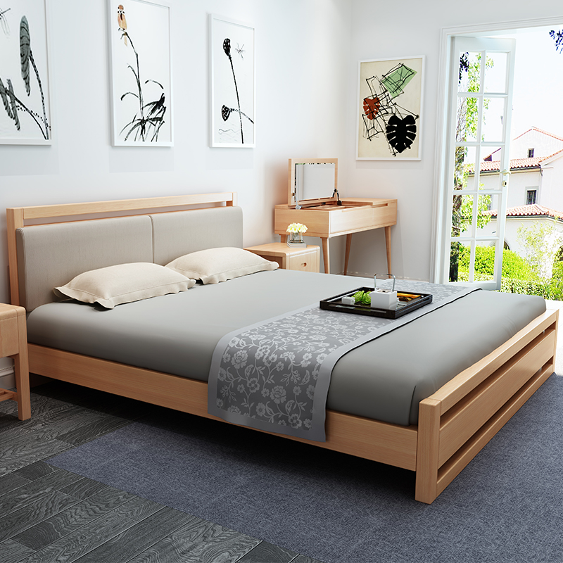The new wood bed 1.8 meters high wooden box double Zhuwo beech 1.5m Nordic real simple marriage bed