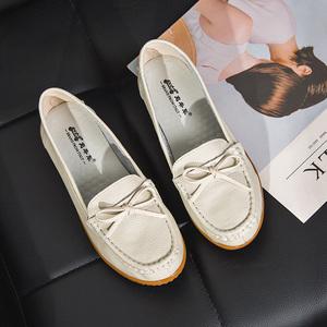 春季真皮妈妈鞋软底平底女休闲孕妇女单鞋护士中老年豆豆鞋66202