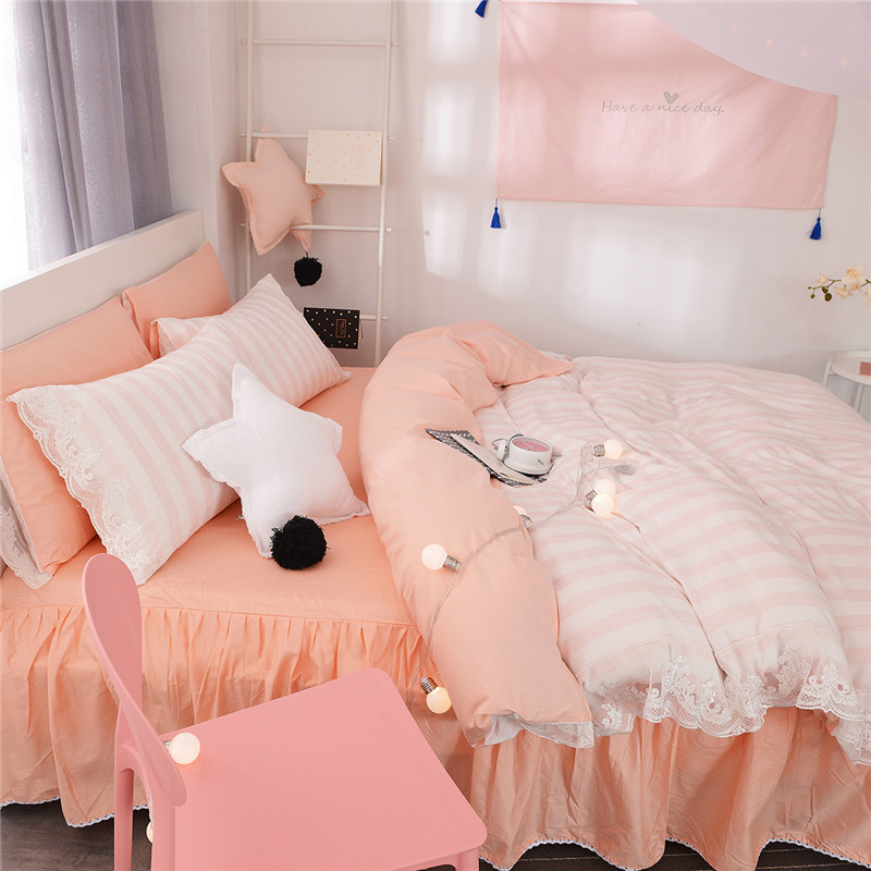 Textile fabric products Miss Korean Lace Princess wind cotton embroidered bed skirt Tencel four piece bedding