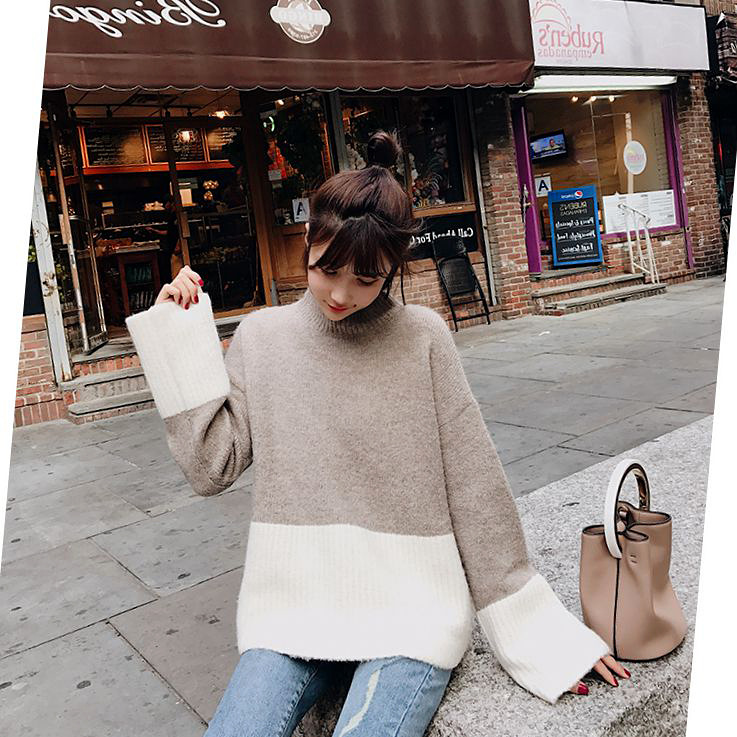 BIGKING Daikin home 2017 new high sense double color stitching CHIC loose sleeve Pullover Sweater