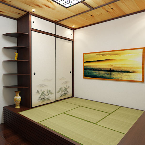 The whole house custom Japanese tatami bed bedroom floor custom pine wood lockers combination box bed
