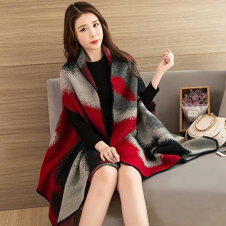 上海故事披肩女春秋冬季长款围巾披风斗篷韩版百搭学生双面厚外套