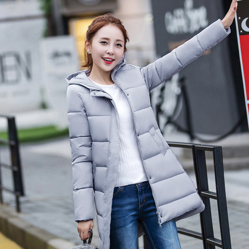 every day special cotton women in the long paragraph hooded slim coat women 's fashion college wind down mianbo chao