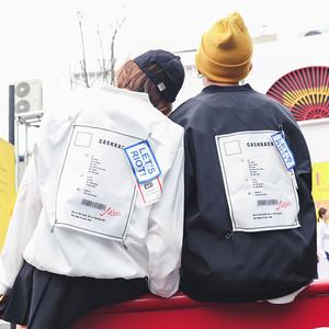2018秋新款韓版原宿BF風百搭學生連帽夾克外套棒球服女情侶班服