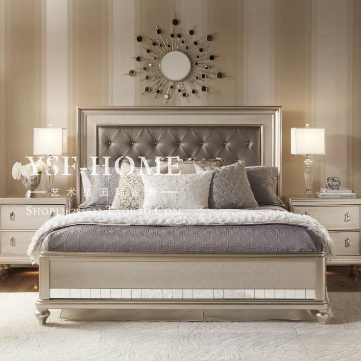 American modern French speakers 1.51.8 meters double bed solid wood bed simple personality champagne fashion princess bed
