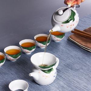 景德镇手绘陶瓷茶具茶壶盖碗茶海茶杯茶滤家用简约功夫茶具套装