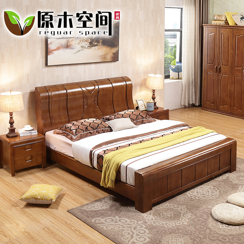 Oak bed, 1.8 meter tall box, modern minimalist master bedroom furniture, new Chinese solid wood double bed wedding bed