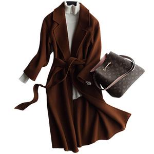 【鄂尔多斯专场】双面呢羊绒大衣女中长款毛呢外套秋冬季羊毛