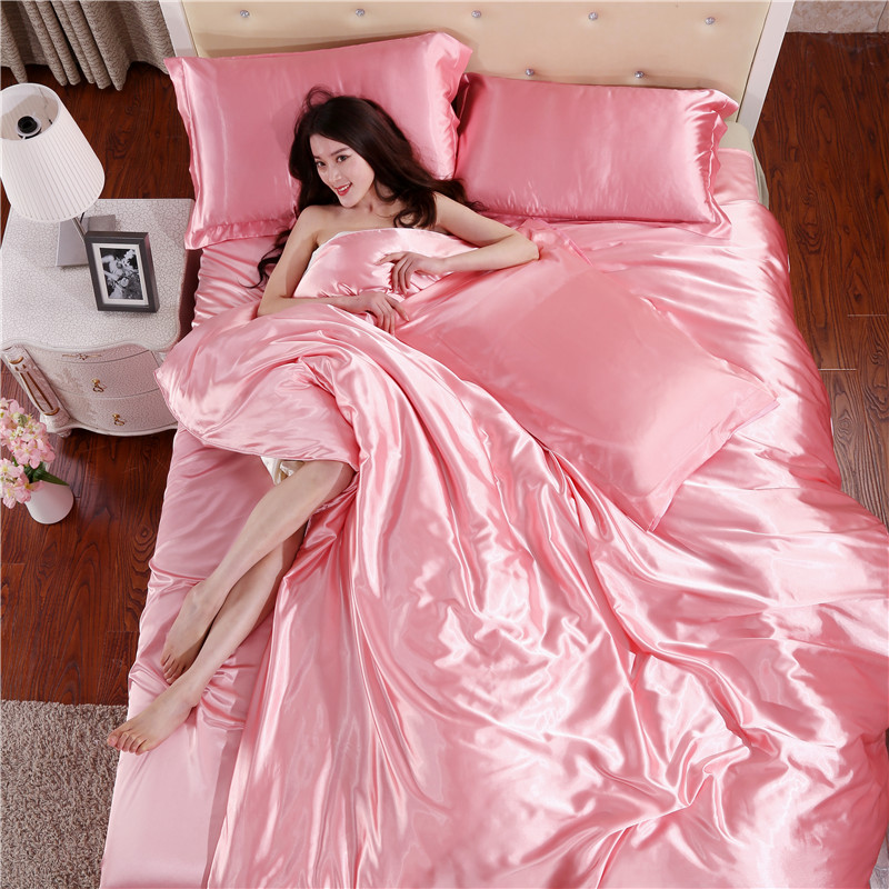 In the summer of four piece ice silk slip solid bed linen Tencel silk satin 1.2m1.8 m bed