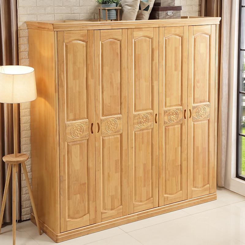 The simplicity of modern Chinese wood wardrobe 3456 door open wardrobe closet master bedroom wooden furniture overall