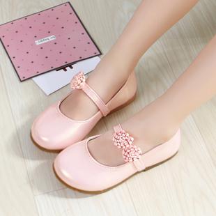 儿童公主鞋女童皮鞋纯色软底白色圆头舞蹈鞋黑色皮鞋公主儿童单鞋