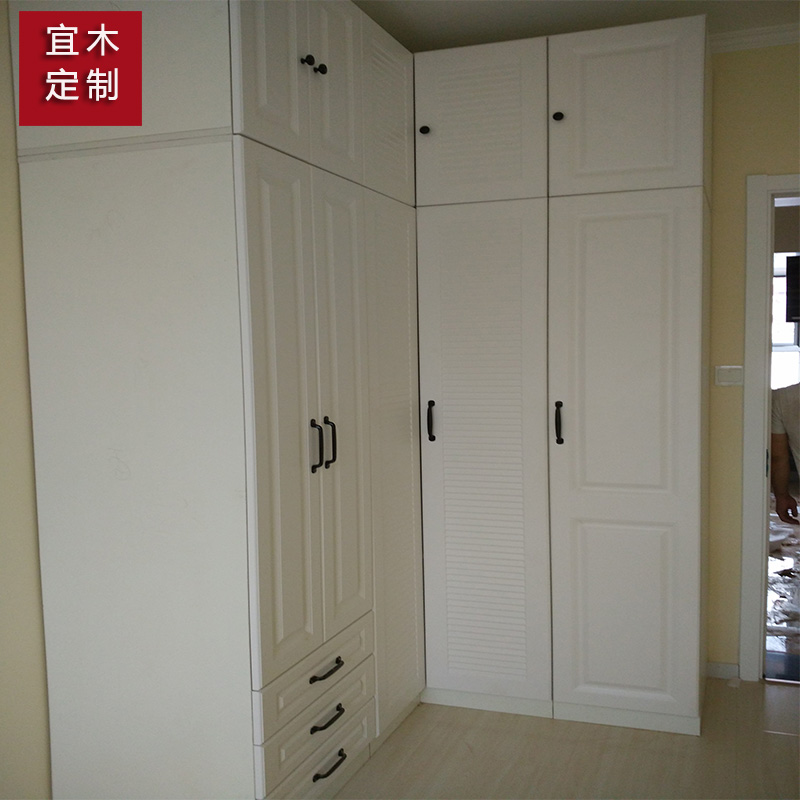 La Chambre de meubles en bois massif de personnalisation de l'armoire entre toute la garde - robe blanche de Pékin garde - robe sur mesure, de vêtements, de personnalisation de style européen