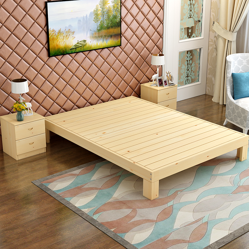 The new modern minimalist pine wood single bed double bed frame 1.5 meters 1.8 meters without tatami bed solid wood bed