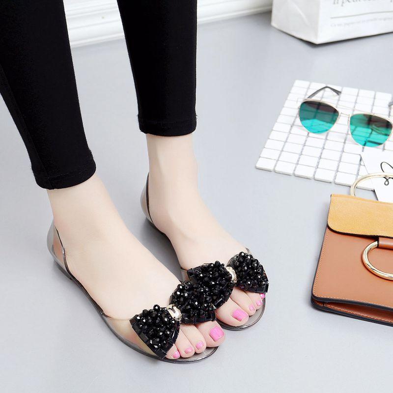 夏季果冻鞋女凉鞋防滑水晶鞋平底水钻串珠沙滩鞋女鞋透明塑料鞋潮