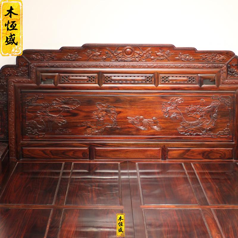 Hengsheng wood mahogany Blackwood Oriental lotus wood carving rosewood hardwood bed Indonesia Tan double bed