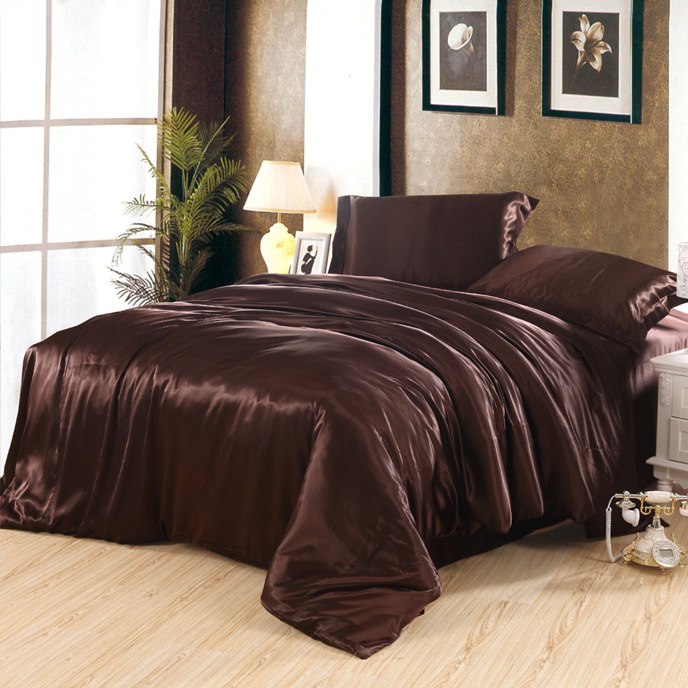 The wedding package post silk texture four piece bedding solid silk bedding set of four sheets of dark grey