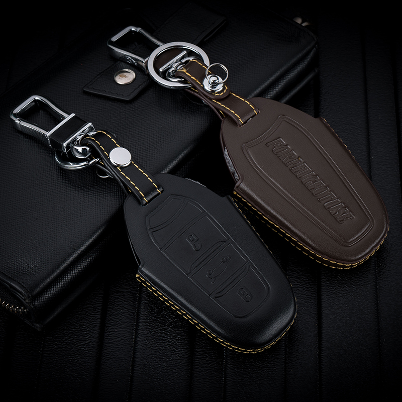 Peugeot 4008 key package leather car key sleeve, male lady one button start remote control protection sleeve buckle modification