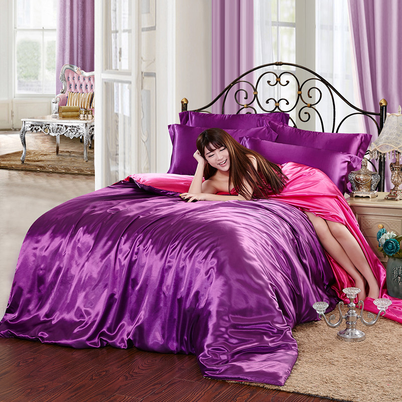 In the summer of four piece silk satin Tencel 4 four piece 1.8M four piece solid bed linen bedding
