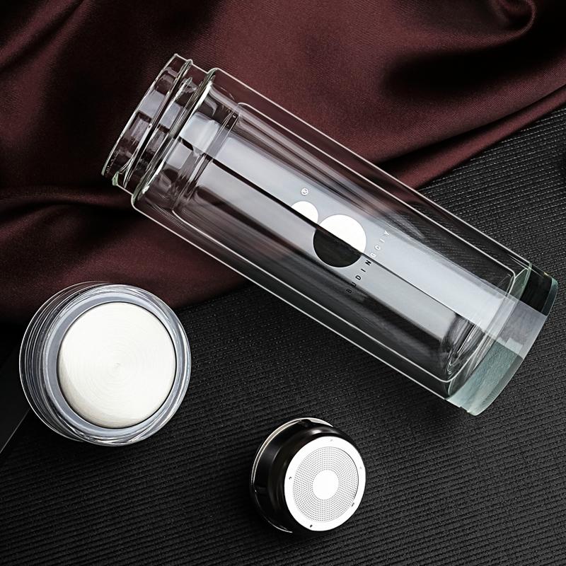 ポータブル2層のグラスメンズビジネス蓋水晶保温カップ肥厚耐熱車載水杯子濾過