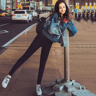 魔术黑色打底裤女裤外穿秋冬季2018新款加绒九分显瘦小脚铅笔小猫