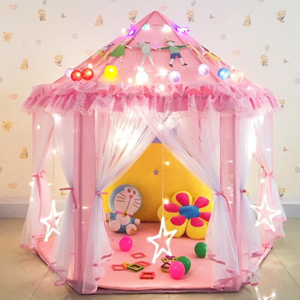 Crianças Tenda hexagonal interior quarto de Princesa cor - de - Rosa menina brinquedo Casa de metal forte apoio de Casa de Jogo.