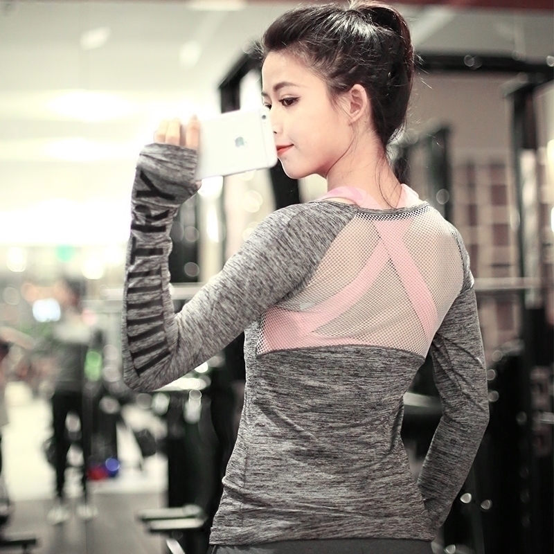 [79 yuan 2 pieces] sexy mesh running fitness shirt, sports long sleeve T-shirt, yoga suit, tight fitting blouse, female