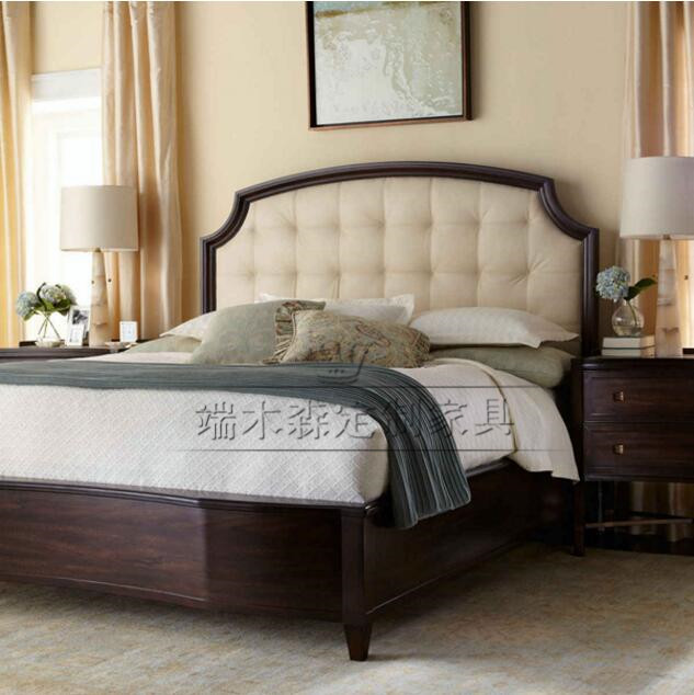 American style solid wood double bed, modern Chinese solid wood, classic head layer, oak oak bedroom, soft marriage bed