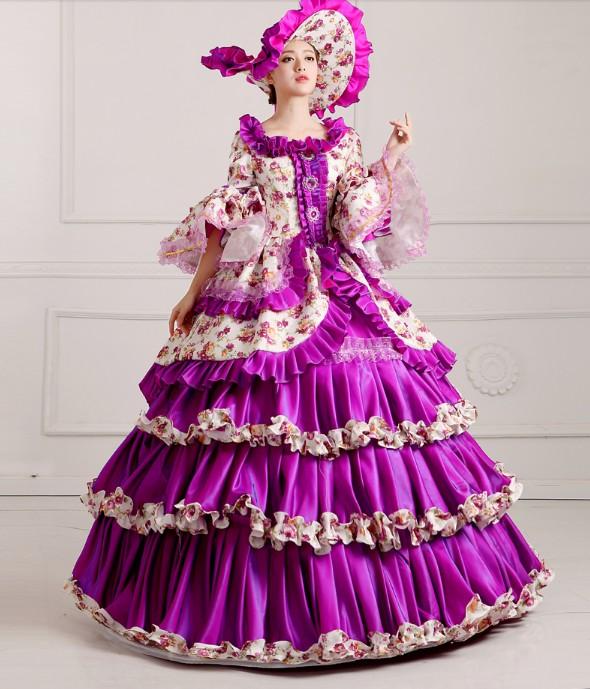 出租天威尼斯狂歡節威尼斯商人傳統服裝出租宮廷服cos紫色復古宮廷女裝