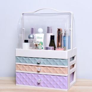 特大号化妆品收纳盒透明防尘抽屉式护肤品桌面梳妆台收纳盒整理箱