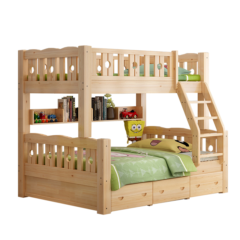 New children bunk bed bunk bed double bed student pine wood bed dormitory bed adult child