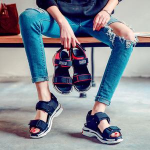 2018新款女夏平底厚底休闲运动凉鞋魔术贴运动气垫露趾凉鞋女鞋