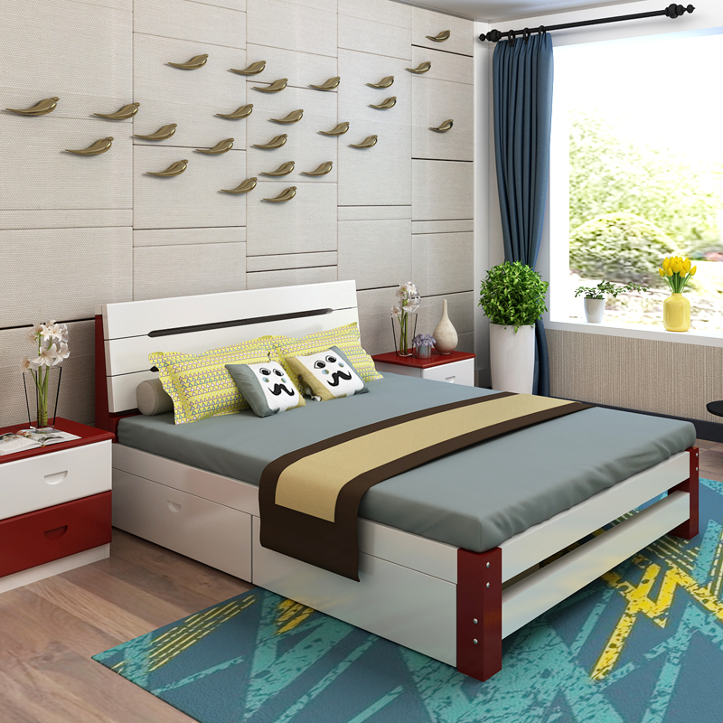 All solid wooden modern simple single bed 1.5 meters 1.8 meters double bed for children and adults with pine bed Zhuwo
