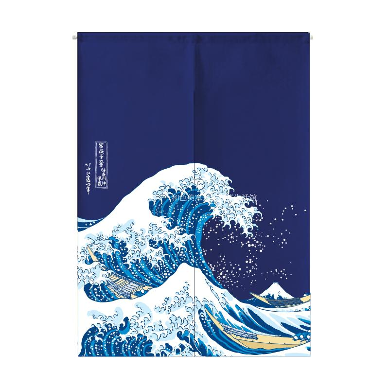 The new Japanese Ukiyo-e surfing in Kanagawa in Japanese creative curtain curtain cloth curtain partition kitchen bedroom