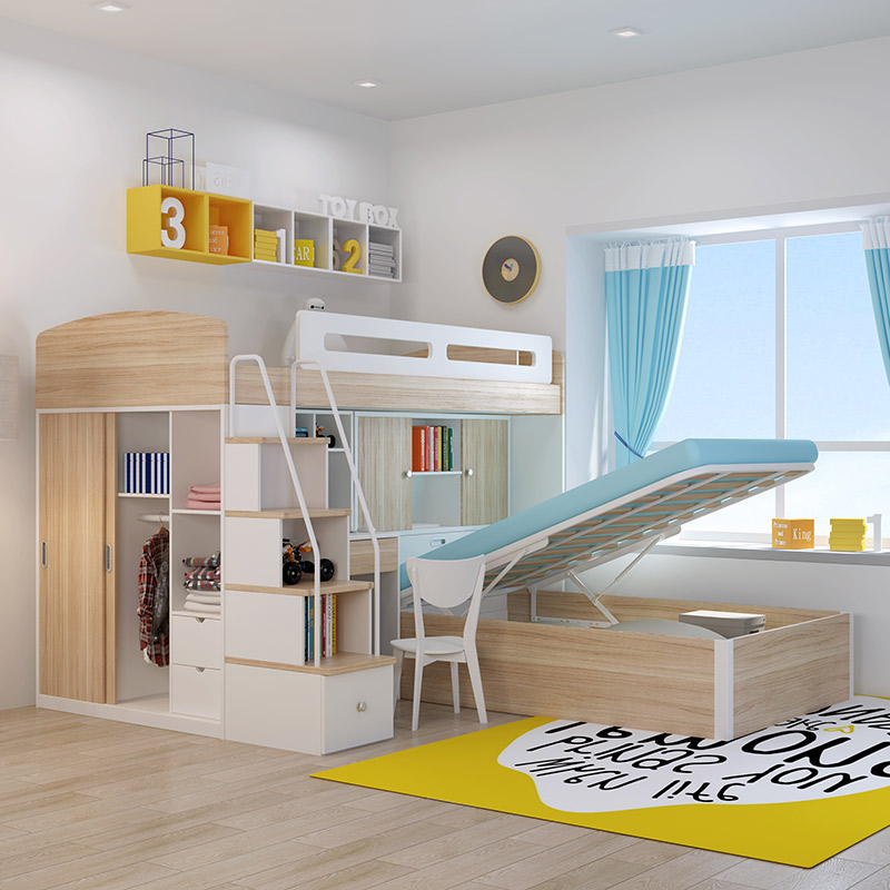 High and low bed, double bed, small apartment, multifunctional children bed, mother and child bed, upper and lower layer, wardrobe, desk, combination of adults