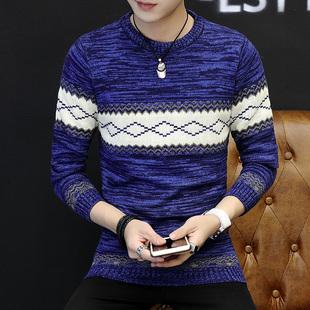 春秋季男士毛衣韩版潮个性秋装线衣服圆领冬季保暖针织衫外套男装