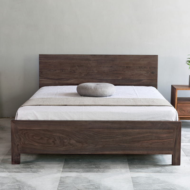Modern minimalist full solid oak 1.5 Nordic 1.8 meter black walnut log new Chinese double bed custom made