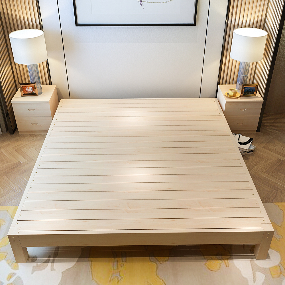 Solid wood bed shipping meters 1.8 meters double bed single bed pine tatami bed 1.2 meters 1 meters 1.5 simple bedstead