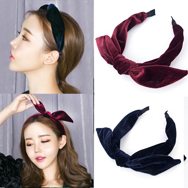 South Korea's New Retro handmade rabbit ears bow all-match velvet Headband wide sweet headband hair card