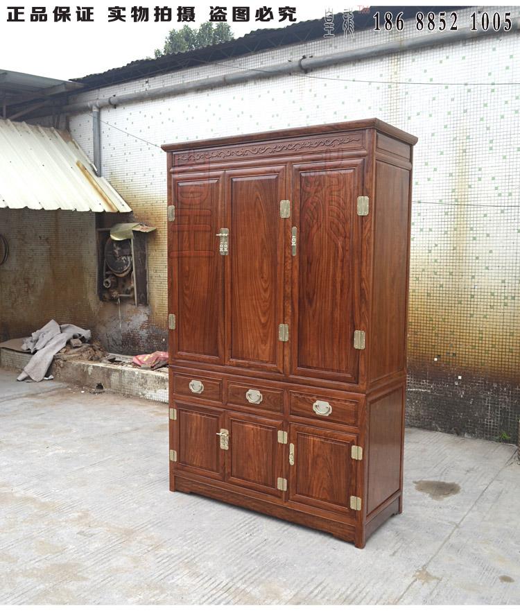 Portes d'armoire armoire simple en bois chinoise moderne de trois portes Rosewood placard Pterocarpus cambodianus Pierre chinois de Redwood